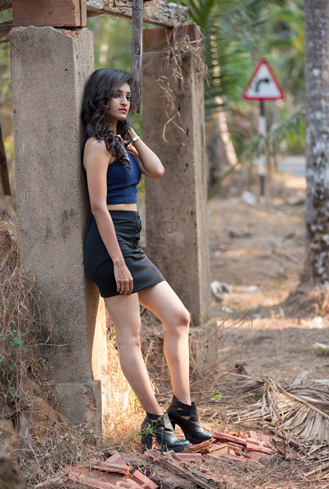 fashion model Ashika Kulal outdoor fashion shoot