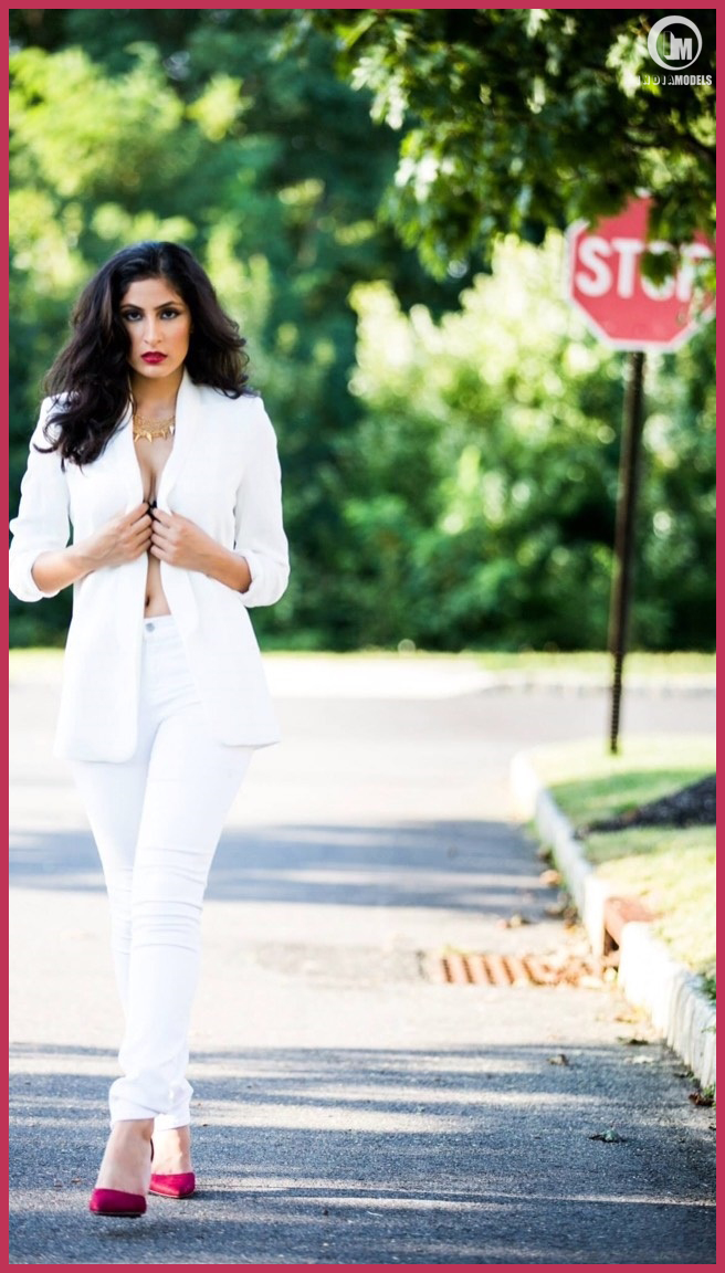 Street style by model Divya Sethi wearing a white suite