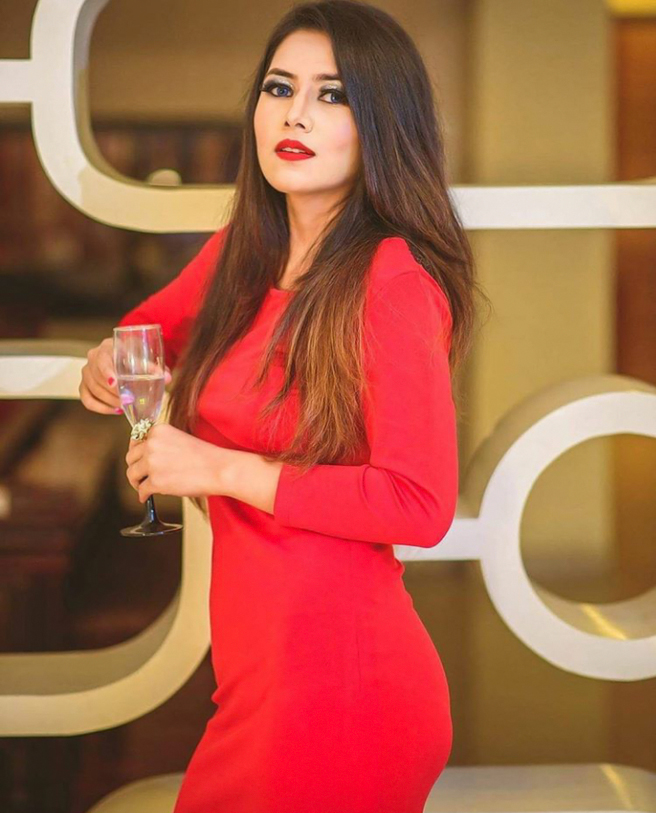 model priya chettri looking stunning in a red evening dress| India Models