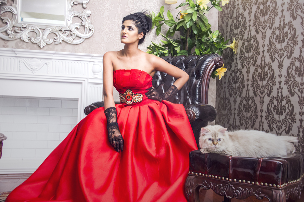 Photograph of Indian fashion model Priyanka Kabra wearing an elegant red dress | India Models
